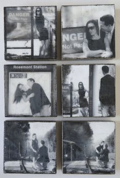 Series of an engagement session turned into a wall collage of encaustic blocks