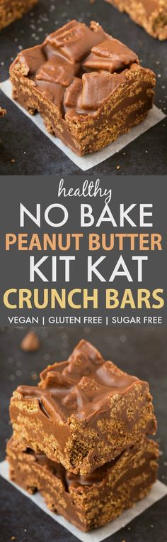 No Bake Peanut Butter Kit Kat Crunch Bars (V, GF, DF)- Easy, fuss-free and delicious, this healthy candy bar copycat combines chex cereal, chocolate and peanut butter in one! vegan, gluten free, sugar free recipe- thebigmansworld.com http://eatdojo.com/healthy-appetizer-recipes-clean-eating-easy/