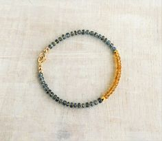 Citrine & Kyanite Bracelet and Gold filled Delicate Multi