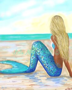 "Items similar to Mermaid Art Mermaids Painting Art Print Giclee Mother Daughter Girl Blonde Child Mermaid Wall Art Decor ""Love Deeply"" Leslie Allen Fine Art on Etsy Mermaid Wall Art, Mermaid Drawings, Mermaid Room, Mermaid Paintings, Mermaid Mermaid, Tattoo Mermaid, Mermaid Tails, Mermaid Sketch, Mermaid Lagoon"