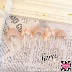 他のネイル画像1 1457677 スモーキー ピンク フレンチ フラワー パール ビジュー 春 オフィス デート チップ ハンド ミディアム