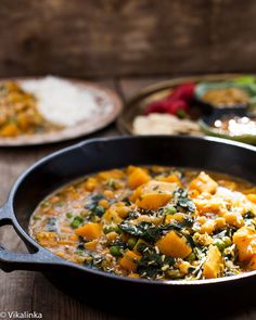 Chickpea and Butternut Squash Curry. Chickpeas and butternut squash are so satisfying in this vegetarian curry you won't miss meat! Spinach Recipes, Veggie Recipes, Indian Food Recipes, Real Food Recipes, Vegetarian Recipes, Cooking Recipes, Yummy Food, Healthy Recipes, Recipes Dinner