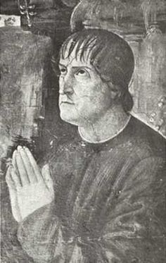 This portrait is part of the frescoes on the walls of the Borgia apartments in the Vatican. It is the picture of Francis Borgia, an illegitimate son of Pope Callixtus III and a first cousin to Alexander VI. He was made bishop by his father and a cardinal by his cousin.