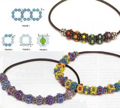 """Translation: Beautiful ornaments made of beads. Each bead is woven from a dark color beads """"wet asphalt"""" or any other color with the addition of multi-colored beads that give brightness.  Colour selection is unlimited. Simple technique of weaving. First woven chain """"flower"""" of the four fragments isolated in the ring and is inserted into the bead."""