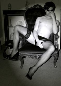 masc in lingerie and heels