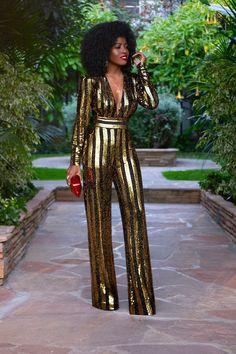 6c32dc49046a Gold   Black Sequin Jumpsuit (Style Pantry)