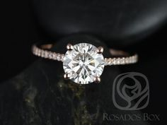DIAMOND FREE Eloise 7mm 14kt Rose Gold Round FB Moissanite and White Sapphires Cathedral Engagement Ring