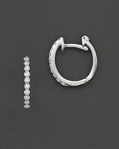 Roberto Coin 18 Kt. White Gold Small Diamond Hoop Earrings