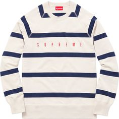 Supreme Striped Raglan Crewneck ❤ liked on Polyvore featuring tops, crew top, raglan top, crew neck top, stripe top and striped top