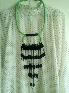 HERA rope  necklace in bright green and black by MerakibyStevie, $45.00