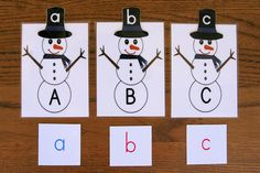 Free printable: match snowmen's hat (upper + lower case letters)