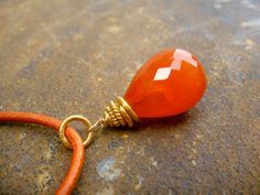 Carnelian Leather Necklace tangerine by steinschmuckdesign on Etsy, CHF47.00