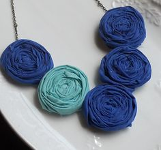 Mint/Cobalt Wedding Jewelry    Cobalt and Aqua Rosette Bib Necklace by AdornmentsbyWendi on Etsy, $22.00