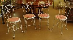 Set of Four Vintage Ice Cream Parlor Chairs - Shabby Chic - Ruby Lane