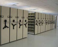 Example of high density shelving for textbook room.