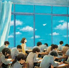 """"""" """"That paper airplane flying in the sky"""". Art Anime, Manga Art, Anime Manga, Anime Classroom, Anime Love Couple, Anime Scenery, Character Drawing, Anime Style, Vocaloid"""