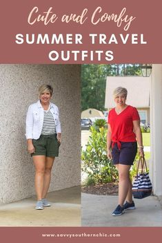 Cute and comfy summer travel outfits for women over 40. Slip on sneakers provide comfort and style. #summeroutfits #fashionover40 #outfitideas Cute Travel Outfits, Travel Clothes Women, Travel Outfit Summer, Vacation Outfits, Summer Travel, Clothes For Women, Vacation Fashion, Over 50 Womens Fashion, Fashion Over 40