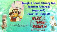 Kids ages 6-9 are invited to Laugh & Learn Library Lab this summer, Tuesdays & Wednesdays at 9:30am, 11:00am, and 2:00pm!  Starts June 10th!