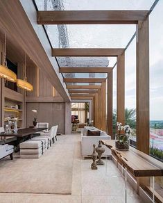 A beautiful architecture of this wooden villa and high glass ceilings . - DIY Wood Ideas, A beautiful architecture of this high-ceilinged wooden and glass villa ., Though historical throughout strategy, the pergola has become encountering a bit of. Villa Design, Modern House Design, Glass House Design, Beautiful Architecture, Interior Architecture, Water Architecture, Classical Architecture, Luxury Interior, Room Interior