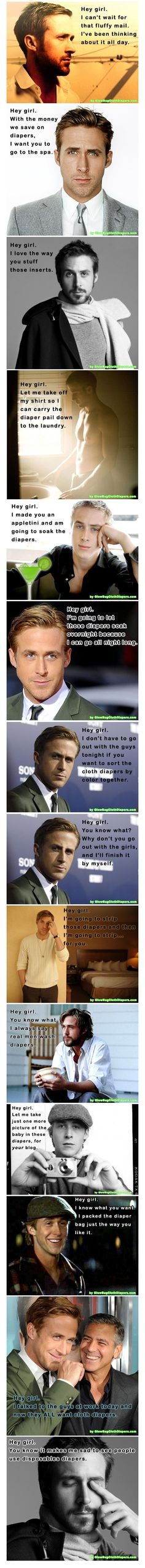Ryan Gosling on Cloth Diapers- If only...