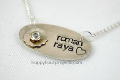DIY Necklace  : DIY Hand Stamped and Riveted Mommy Necklace