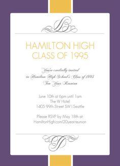 Class reunion invitation large postcard mailer chevron tear off rsvp purpletrail class reunion invitation stopboris Choice Image