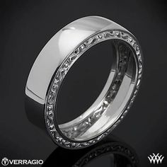 This Men's Verragio Wedding Ring features a compelling design that will highlight your guys individuality without overpowering it. The width of this ring is 7mm. This ring can only be re-sized up to one size up or down. MI-7001 #Whiteflash