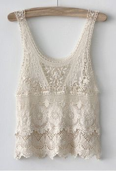 A vintage inspired crochet lace tank top featuring a scallop hem, scoop neck, and open-knit pattern. Perfect as a cover-up over swimsuits or with a maxi dress/skirt. Cotton. Handwash only. $28  I need to design one like this.
