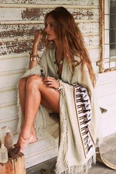 Boho Fashion #fashion #boho #style love the cape wrap stylish all the way.