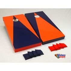 Orange & Blue Cornhole Bean Bag Toss Game for #Illini #Tailgate