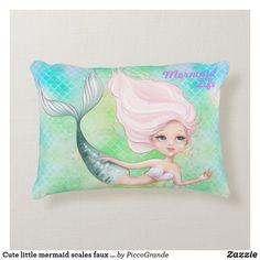 Cute little mermaid scales faux iridescent shells accent pillow Soft Pillows, Accent Pillows, Decorative Pillows, Throw Pillows, Mermaid Home Decor, Bedroom Themes, Bedroom Decor, Mermaid Nursery, Mermaid Pillow