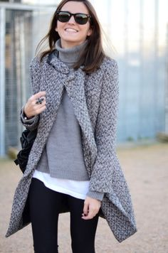 Wide herringbone coat with black, white and gray.