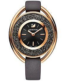 Swarovski Women's Swiss Crystalline Gray Leather Strap Watch 37mm 5230943