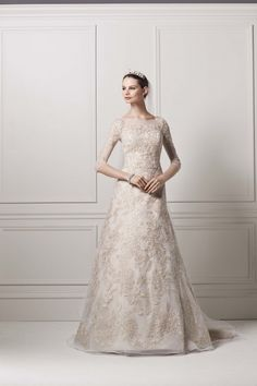 A-Line, Charming Champagne French Lace A Line Dress With Bateau Neck And 3/4 Sleeve: Oleg Cassini Wedding Dress