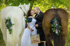 Scottish Wedding - Trash The Dress with Horses / Rock the Dress with Horses My amazing husband in his clan McKay kilt on our Percheron mare, and myself on my American Warmblood gelding. Photo by Yellow Rose Photography taken in North Central Florida, April 2014