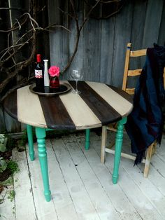 Striped Shabby Chic Kitchen Table  Turquoise Grey and by NineRed, $275.00