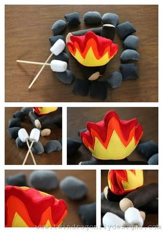 Felt campfire complete with marshmallows for roasting!