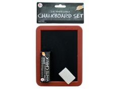 "Mini Chalkboard Set, 96 - Play teacher, practice math problems, draw pictures or whatever you like with this handy Mini Chalkboard Set. It includes a mini chalkboard, a 2-pack of chalk and a mini foam eraser. Safe and non-toxic. Measures approximately 7"" x 5.5"" x 0.125"". Comes packaged in a poly bag with a hanging header card. Package measures approximately 9.75"" x 6"" x 0.75"".-Colors: black,brown,white. Material: plastic,foam,sponge. Weight: 0.1403/unit"