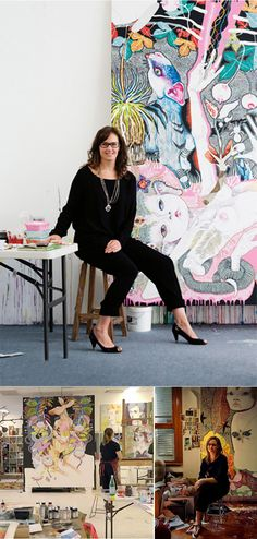 Del Kathryn Barton, artist in her art studio #workspace