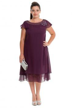 Kısa Mürdüm Büyük Beden Elbise ALY6373