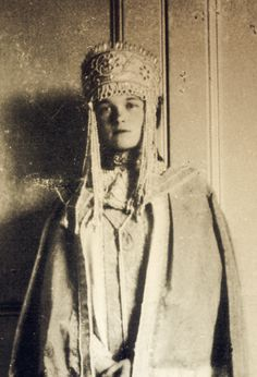 Grand Duchess Olga Nikolaevna Romanova of Russia, 1895-1918, wearing a traditional costume.