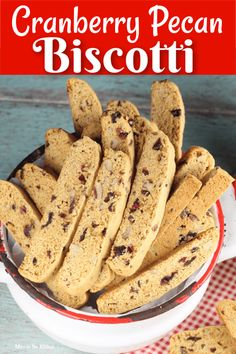 Cranberry Pecan Biscotti is loaded with chopped pecans and dried cranberries with that classic biscotti crunch. A perfect treat to enjoy any time of day and the best cookie to bake and share for the holidays! Easy Holiday Recipes, Best Cookie Recipes, Best Dessert Recipes, Fun Desserts, Sweet Recipes, Baking Recipes, Yummy Recipes, Pecan Biscotti Recipe, Cranberry Biscotti Recipe Easy