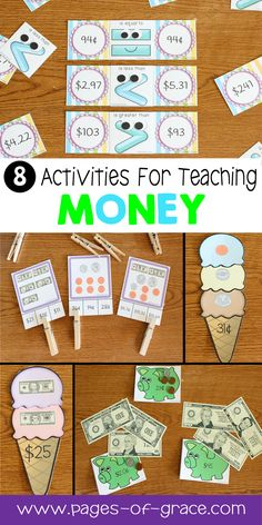 Are you looking for some fun activities for teaching kids money skills? Check out this unit full of ideas to help your students understand coins and bills (pennies, nickels, dimes, quarters, $1, $5, $10, $20, $50, and $100 bills). There are 31 worksheets and 8 fun activities and games for centers. This math unit is designed for 2nd grade and would also be great for advanced 1st graders and 3rd graders needing extra practice. Click on the picture to see a full description.