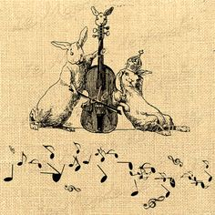 The Musician  rabbit pet note music love crown violin vintage printable fabric paper art transfer gift tag label napkins burlap Sheet n.512
