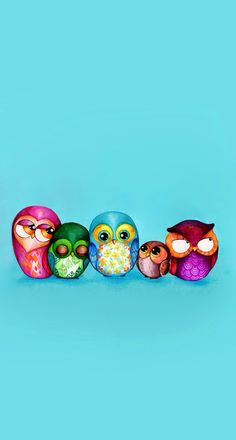 Fabric Owl Family - Painting Print by Annya Kai - Colorful Vintage Fabric Pattern Owl Wall Art Family Painting, Painting Prints, Art Prints, Painting Gallery, Rock Painting, Cute Birds, Cute Owl, Owl Art, Bird Art