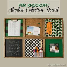 Pottery Barn Kids knock off command center bulletin board