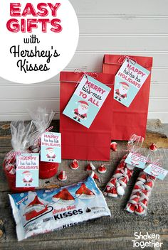 From neighbors to teachers to Secret Santa, these 3 easy gifts with HERSHEY'S KISSES {and the printable Santa gift tags!} make your holiday gift giving, easy, affordable and absolutely adorable!!  #SantasKisses #giftideas {ad}