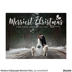 Modern Calligraphy Merriest Christmas Photo Holiday Postcard Elegant and whimsical holiday postcard featuring white modern calligraphy and holly. Matching items such as stickers, labels and stamps are available.