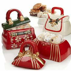 David's Set of 3 Holiday Handbag Jars with Cookies