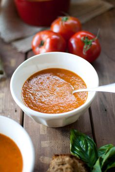 RUSTIC TOMATO SOUP:  Saute 1/2-1TBSP EVOO, 1 ONION,  small knob GINGER. Add 4 TOMATOES (cut in quarters), 3 TBSP dry LENTILS &1c VEGETABLE STOCK. Simmer 20 min. Add 2handfuls fresh BASIL & 1TBSP AGAVE. Puree in Vitamix w/enough COCONUT MILK to make creamy texture